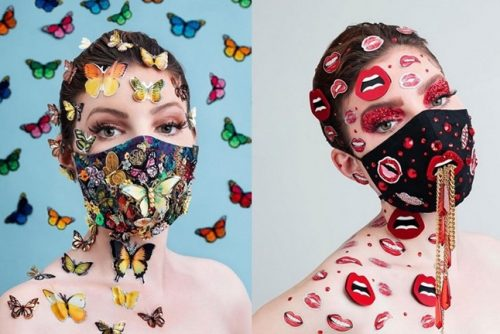 modern masks with jewellery